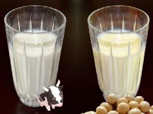 牛乳と豆乳の画像