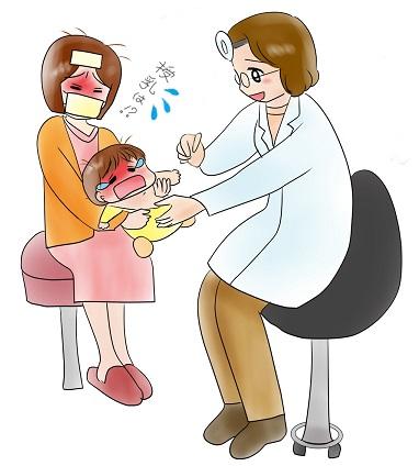 母子とも病気のイラスト