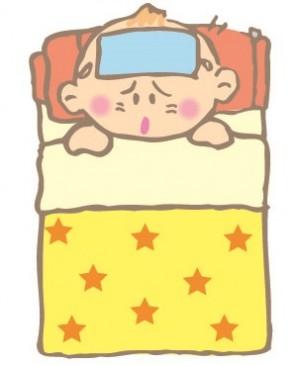発熱した赤ちゃんのイラスト