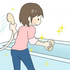 浴槽の掃除のイラスト