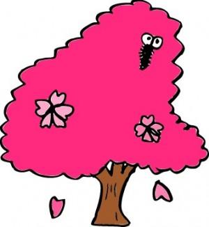 桜と虫のイラスト